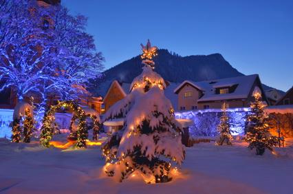 Weihnachtsbaum und Dekoration im Garten